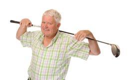 Glücklicher beiläufiger fälliger Golfspieler Stockfoto