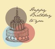 Glücklicher Birthfay-Kartenweinlesehandzeichnungskuchen Stockbilder