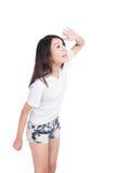 Glücklicher Blick der jungen Frau, zum des Platzes zu kopieren Stockbilder