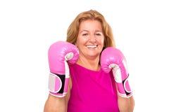 Glücklicher blonder weiblicher Boxer Lizenzfreie Stockbilder