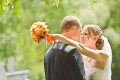Glücklicher Bräutigam- und Brautblick auf einander Lizenzfreie Stockbilder