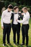 Glücklicher Bräutigam und Groomsmen stockfoto