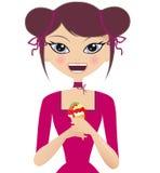 Glücklicher Brunette-kaukasische Frau in einem rosafarbenen Kleid lizenzfreie abbildung
