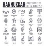 Glücklicher Chanukka-Tagesdünnes Zeilendarstellungshintergrund Entwurfsikonenelemente für Feiertag Vektorgegenstand jüdisch