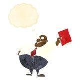 glücklicher Chef der Karikatur mit Datei mit Gedankenblase Lizenzfreies Stockbild