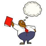 glücklicher Chef der Karikatur mit Datei mit Gedankenblase Stockbilder