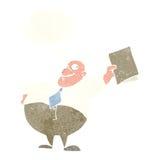glücklicher Chef der Karikatur mit Datei mit Gedankenblase Stockfoto