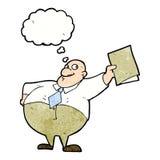 glücklicher Chef der Karikatur mit Datei mit Gedankenblase Stockbild