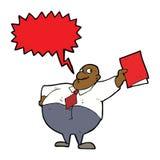 glücklicher Chef der Karikatur mit Datei mit Spracheblase Stockbilder