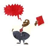 glücklicher Chef der Karikatur mit Datei mit Spracheblase Stockbild