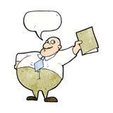 glücklicher Chef der Karikatur mit Datei mit Spracheblase Stockfoto