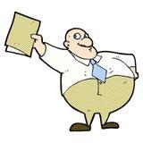 glücklicher Chef der komischen Karikatur mit Datei Stockfotografie