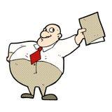glücklicher Chef der komischen Karikatur mit Datei Stockfotos