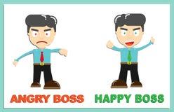 Glücklicher Chef und verärgerter Chef-Vector-Charakter lizenzfreie abbildung