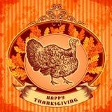 Glücklicher Danksagungs-Tag Gezeichnete Vektorillustration der Weinlese Hand mit Truthahn und Herbstlaub auf Schmutzhintergrund Stockfoto