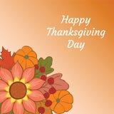 Glücklicher Danksagungs-Tag Illustration mit Kürbis, Blume, Eiche a Stockfoto