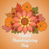 Glücklicher Danksagungs-Tag Illustration mit Kürbis, Blume, Eiche a Stockfotografie