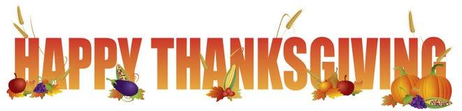 Glücklicher Danksagungs-Text mit Obst und Gemüse Illustration Stockfotos
