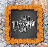 Glücklicher Danksagungstageshintergrund mit gelben Blättern Stockfoto