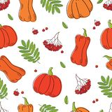 Glücklicher Danksagungstageshintergrund Nahtloses Muster mit Kürbisen, Beeren einer Eberesche und Blättern für Gewebe, Tapeten, G Stockbilder
