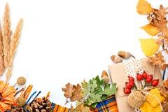 Glücklicher Danksagungstageshintergrund Weißer Hintergrund verziert mit Kürbisen, Mais, Früchten und Herbstlaub Herbst lizenzfreie stockbilder