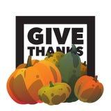 Glücklicher Danksagungstagesreife Kürbispostkarte Geben Sie Dank Stockbild