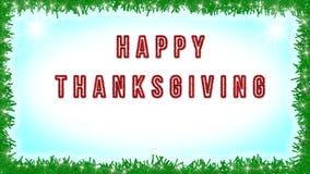 Glücklicher Danksagungstext geschrieben auf blauen und weißen Hintergrund mit Lichtdekoration herum Karte, Fahne Stockfotos