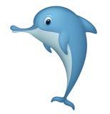 Glücklicher Delphin, der auf weißem Hintergrund steht Stockfoto