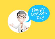 Glücklicher Doktor Day - lächelnder Neurologe-Vektor-Charakter stock abbildung