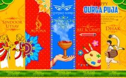 Glücklicher Durga Puja-Hintergrund Stockbild