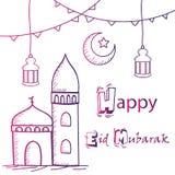 Glücklicher Eid Mubarak-Gruß, Handzeichnende Art mit Moschee, Laternen und Halbmondmond lizenzfreies stockfoto
