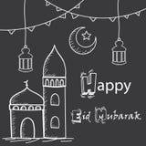 Glücklicher Eid Mubarak-Gruß, Handzeichnende Art mit Moschee, Laternen und Halbmondmond lizenzfreie stockfotos