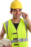 Glücklicher Erbauer-Bauarbeiter lizenzfreie stockbilder