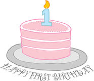 Glücklicher erster Geburtstag-Kuchen Stockfotografie