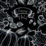 Glücklicher Fall Konzept des Feiertags der Herbst- und Erntehelferzeichnung Die Blätter der Bäume sind Ahorn, Eiche Kürbis, Apfel Lizenzfreie Stockfotografie