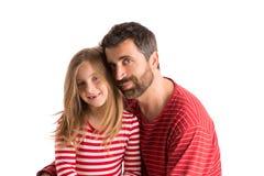 Glücklicher Familienbartvater und blonde Kindertochter Stockbild