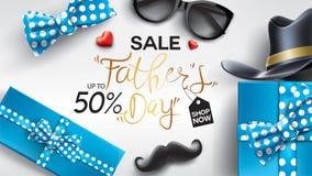 Glücklicher Father's-Tagesentwurf mit Spaßkonzept und Pastellfarbe für Verkaufsfahnenhintergrund