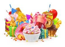 Glücklicher Feiertag Kleiner Kuchen, Geschenkbox Auch im corel abgehobenen Betrag vektor abbildung