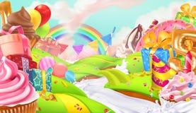 Glücklicher Feiertag Kleiner Kuchen, Geschenkbox Süße Landschaft, Vektorhintergrund stock abbildung