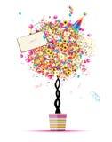 Glücklicher Feiertag, lustiger Baum mit Ballonen im Potenziometer Stockfotos