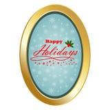 Glücklicher Feiertag mit ovalem Rahmen und blauem Hintergrund Stockfotos