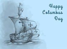 Glücklicher flacher Entwurf Columbus Day Design Concept Vectors Glückliches Columbus Day Greetings oder Fahne oder Postkarte oder stock abbildung
