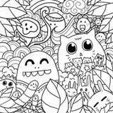 Glücklicher Forest Doodle Lizenzfreies Stockfoto