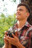 Glücklicher Fotograf Stockfotografie