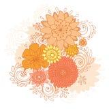 Glücklicher Frühling ist hier Gekritzel-Blumen-Karte, Vektor-Illustration Lizenzfreies Stockbild