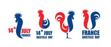 Glücklicher Französischer Nationalfeiertag, am 14. Juli Viva France National Day Französischer Hahn Lokalisierter Hahn auf weißem Stockbilder