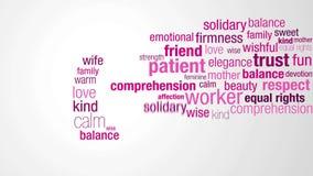 Glücklicher Frauen ` s Tag Beginnen Sie mit einer Wolke von Wörtern in den rosa und purpurroten Farben, die eins nach dem anderen stock video footage