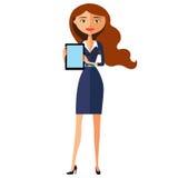 Glücklicher Frauencharakter mit Tablette Angenehm lächelnde Karikatur-Vektorillustration des Geschäftsmädchens flache Stockfotografie