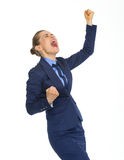 Glücklicher freuender freuender Erfolg der Geschäftsfrau stockfoto