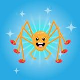 Glücklicher freundlicher Spinnencharakter, der rote Schuhe trägt Lizenzfreies Stockfoto
